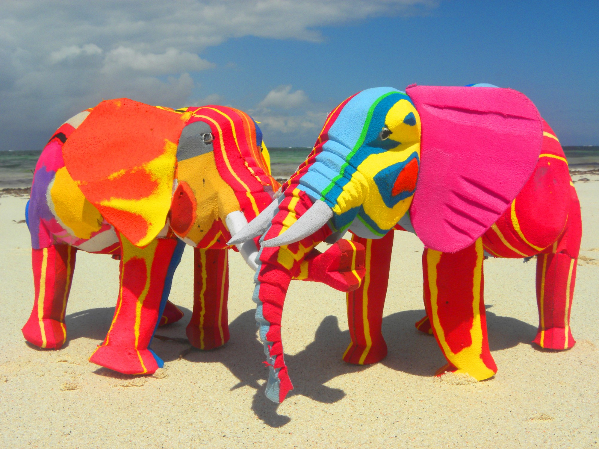 Elephants on beach